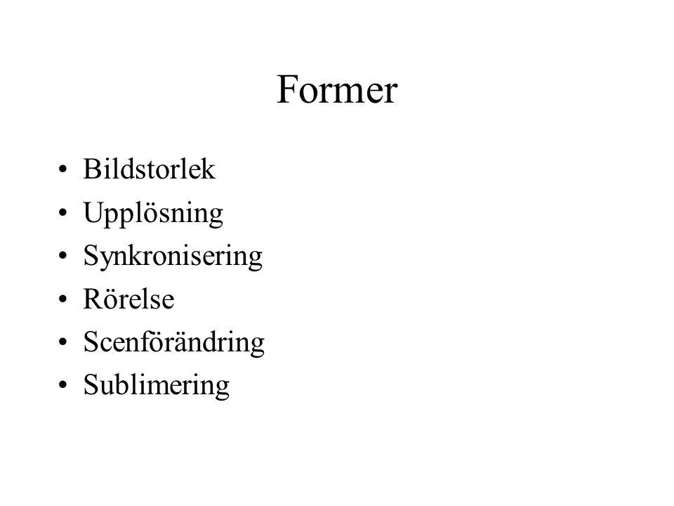 Former Bildstorlek Upplösning Synkronisering Rörelse Scenförändring Sublimering