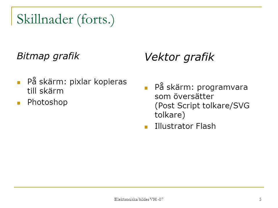 Elektroniska bilder VH -07 5 Skillnader (forts.) Bitmap grafik På skärm: pixlar kopieras till skärm Photoshop Vektor grafik På skärm: programvara som översätter (Post Script tolkare/SVG tolkare) Illustrator Flash