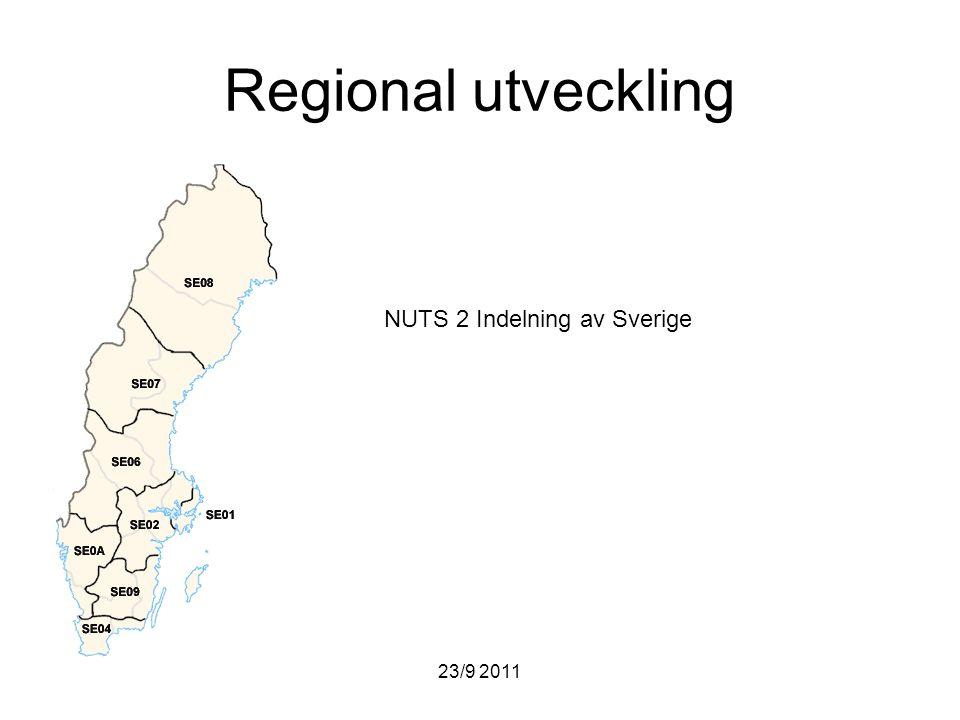 23/9 2011 Regional utveckling NUTS 2 Indelning av Sverige
