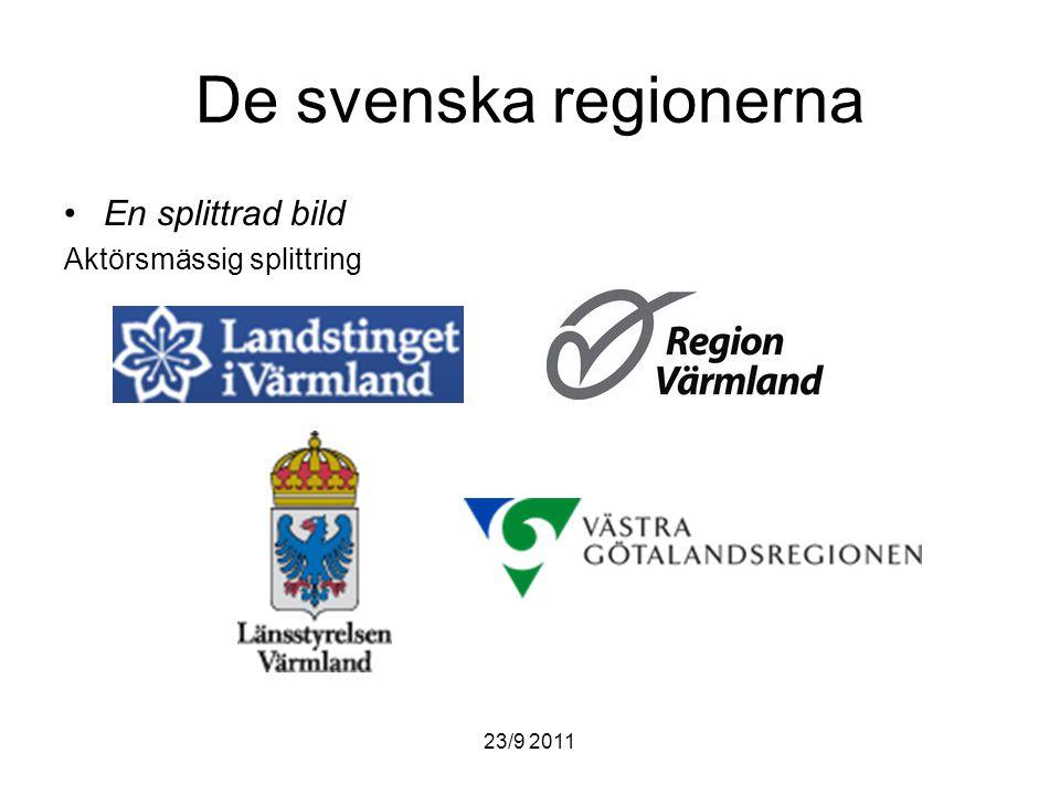 23/9 2011 De svenska regionerna En splittrad bild Aktörsmässig splittring