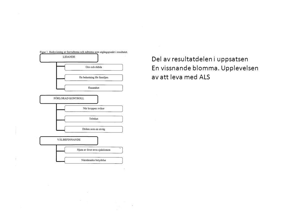 Del av resultatdelen i uppsatsen En vissnande blomma. Upplevelsen av att leva med ALS