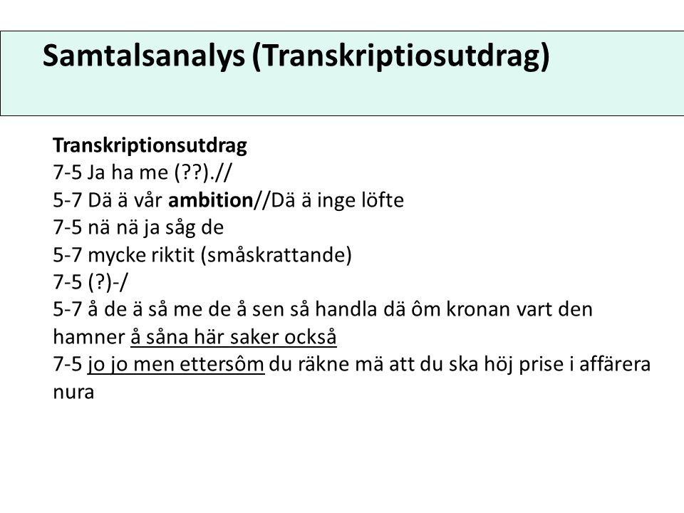 Samtalsanalys (Transkriptiosutdrag) Transkriptionsutdrag 7-5 Ja ha me (??).// 5-7 Dä ä vår ambition//Dä ä inge löfte 7-5 nä nä ja såg de 5-7 mycke rik