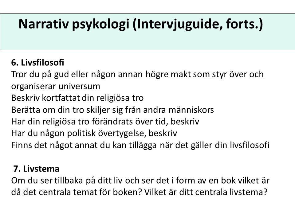 Narrativ psykologi (Analys) 1.