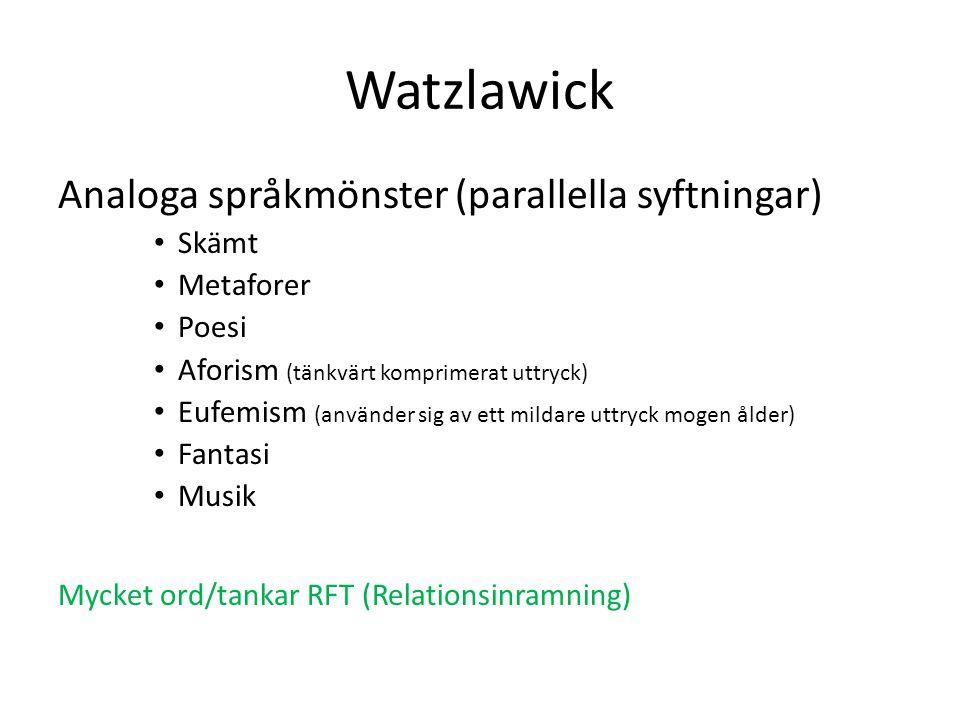 Watzlawick Analoga språkmönster (parallella syftningar) Skämt Metaforer Poesi Aforism (tänkvärt komprimerat uttryck) Eufemism (använder sig av ett mil