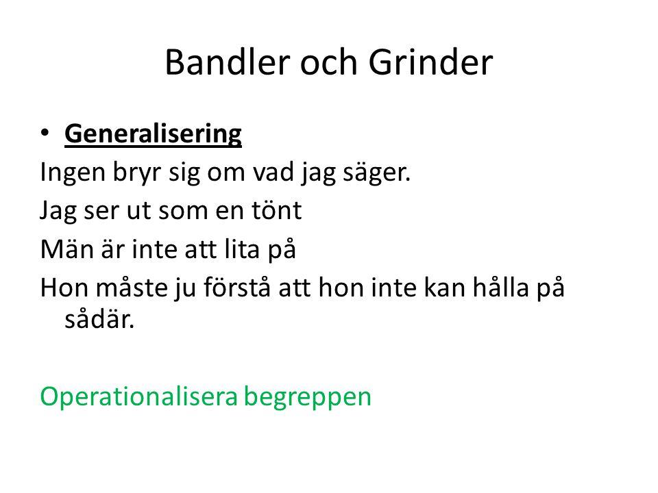 Bandler och Grinder Generalisering Ingen bryr sig om vad jag säger. Jag ser ut som en tönt Män är inte att lita på Hon måste ju förstå att hon inte ka