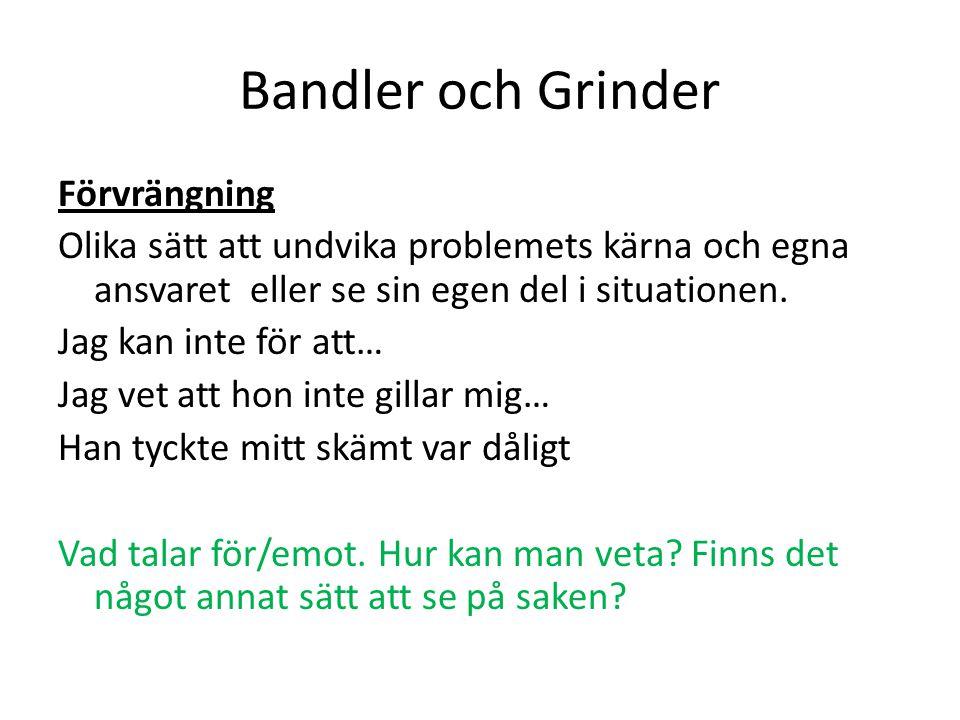 Bandler och Grinder Förvrängning Olika sätt att undvika problemets kärna och egna ansvaret eller se sin egen del i situationen. Jag kan inte för att…