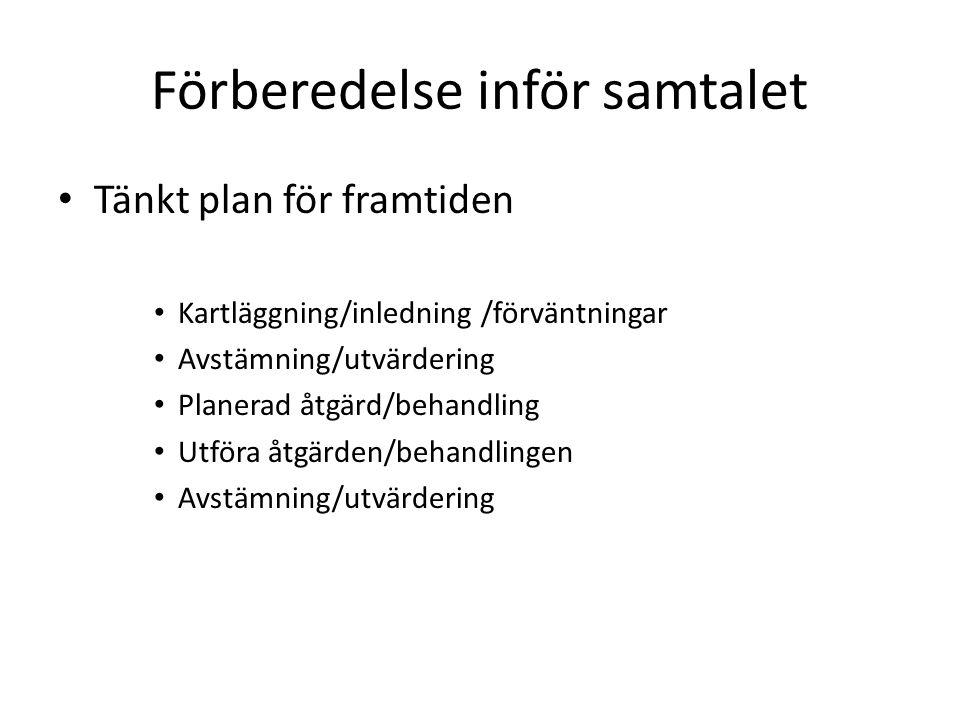 Förberedelse inför samtalet Tänkt plan för framtiden Kartläggning/inledning /förväntningar Avstämning/utvärdering Planerad åtgärd/behandling Utföra åt