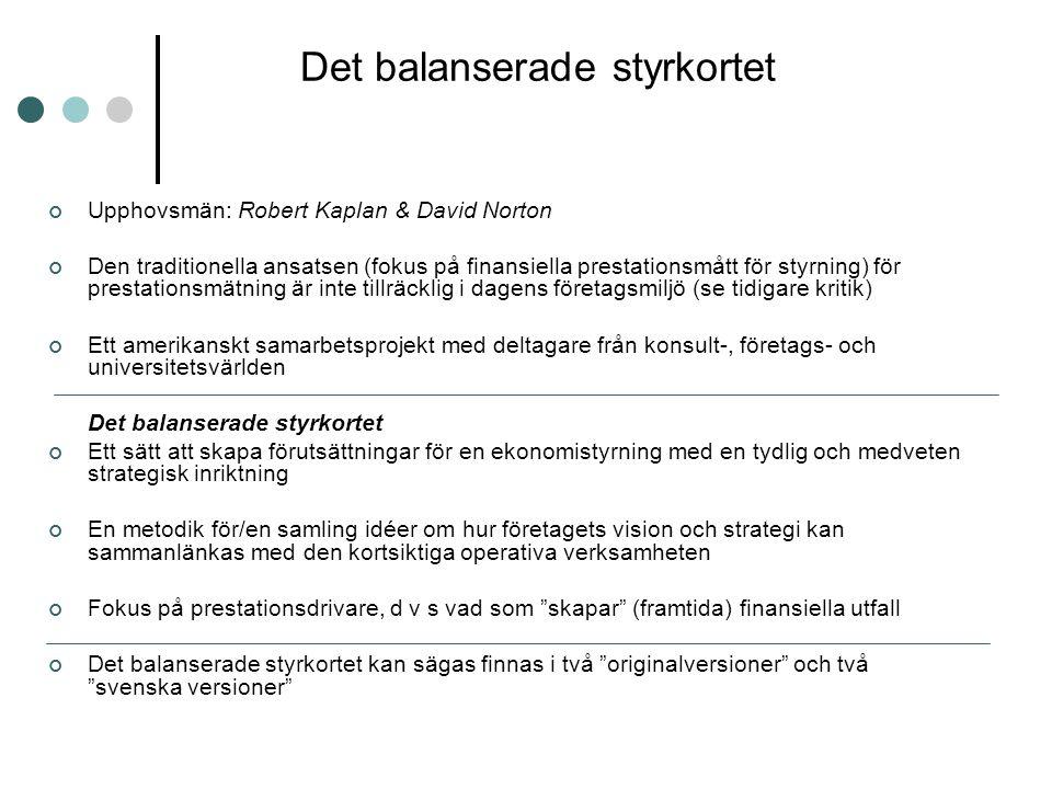 Det balanserade styrkortet Upphovsmän: Robert Kaplan & David Norton Den traditionella ansatsen (fokus på finansiella prestationsmått för styrning) för