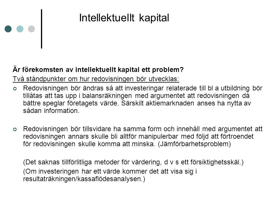 Intellektuellt kapital Är förekomsten av intellektuellt kapital ett problem? Två ståndpunkter om hur redovisningen bör utvecklas: Redovisningen bör än