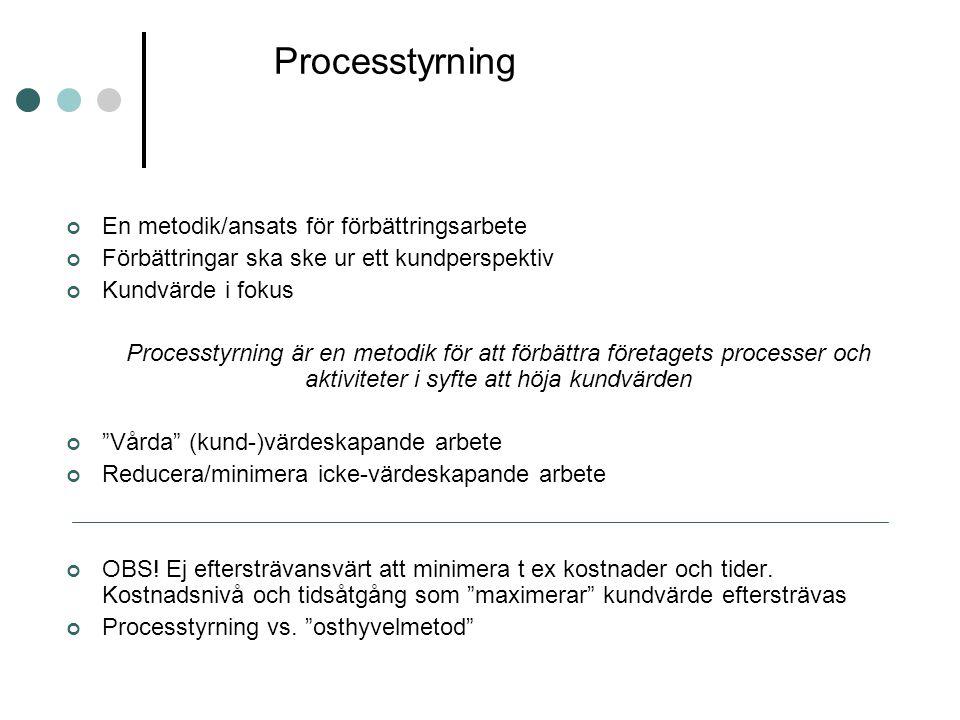 Processtyrning En metodik/ansats för förbättringsarbete Förbättringar ska ske ur ett kundperspektiv Kundvärde i fokus Processtyrning är en metodik för