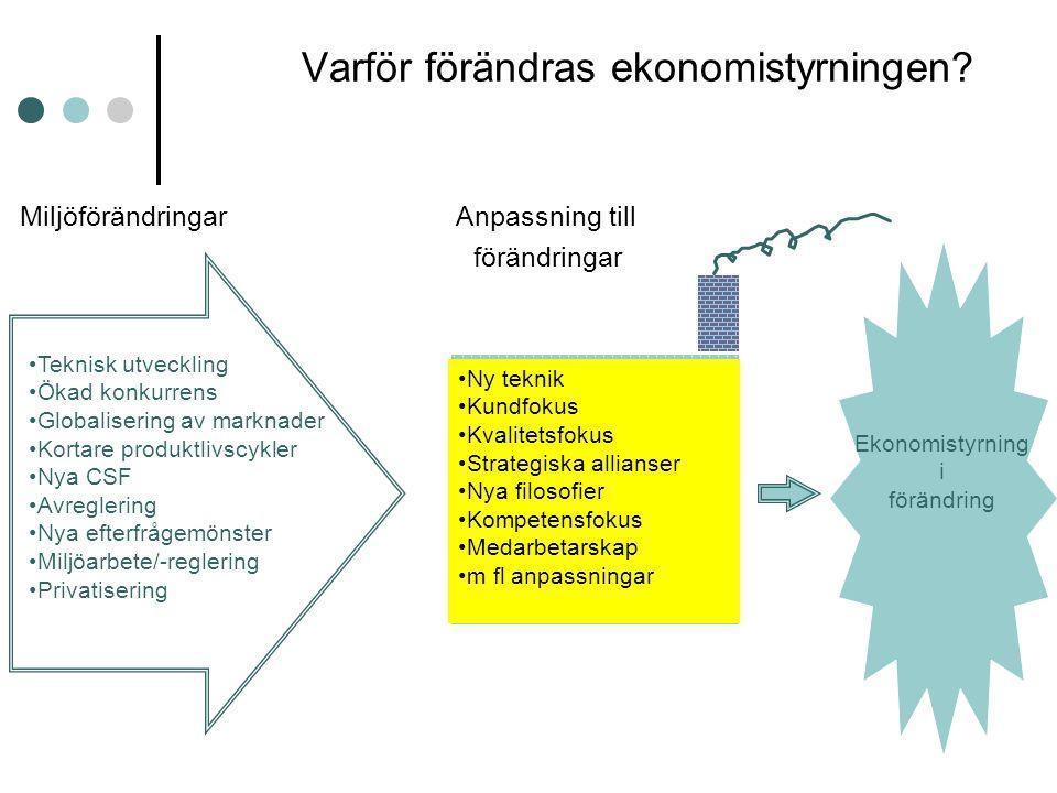 Varför förändras ekonomistyrningen? Miljöförändringar Anpassning till förändringar Teknisk utveckling Ökad konkurrens Globalisering av marknader Korta