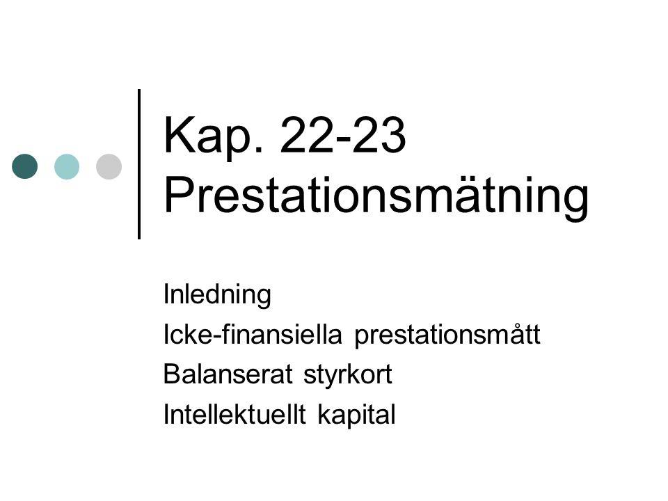 Kap. 22-23 Prestationsmätning Inledning Icke-finansiella prestationsmått Balanserat styrkort Intellektuellt kapital
