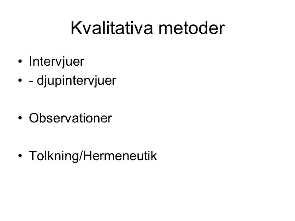 Kvalitativa metoder Intervjuer - djupintervjuer Observationer Tolkning/Hermeneutik