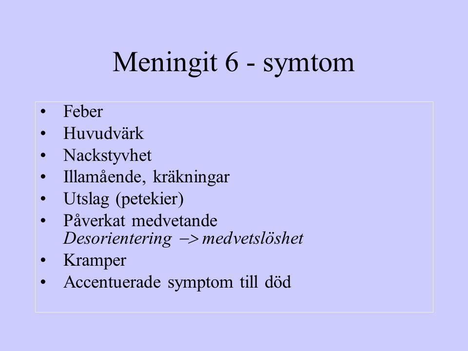 Meningit 6 - symtom Feber Huvudvärk Nackstyvhet Illamående, kräkningar Utslag (petekier) Påverkat medvetande Desorientering  medvetslöshet Kramper