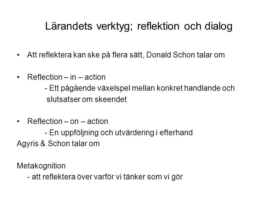Lärandets verktyg; reflektion och dialog Att reflektera kan ske på flera sätt, Donald Schon talar om Reflection – in – action - Ett pågående växelspel