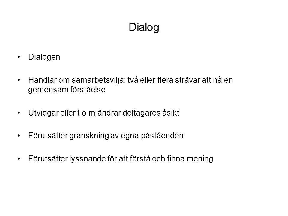 Dialog Dialogen Handlar om samarbetsvilja: två eller flera strävar att nå en gemensam förståelse Utvidgar eller t o m ändrar deltagares åsikt Förutsät