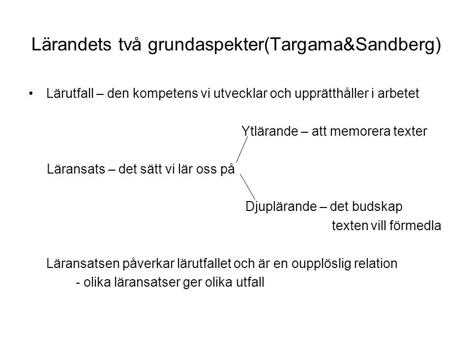 Lärandets två grundaspekter(Targama&Sandberg) Lärutfall – den kompetens vi utvecklar och upprätthåller i arbetet Ytlärande – att memorera texter Läran