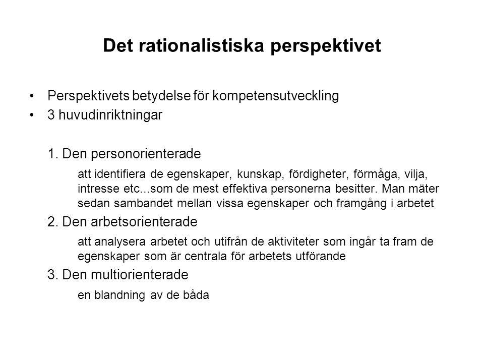 Det rationalistiska perspektivet Perspektivets betydelse för kompetensutveckling 3 huvudinriktningar 1. Den personorienterade att identifiera de egens