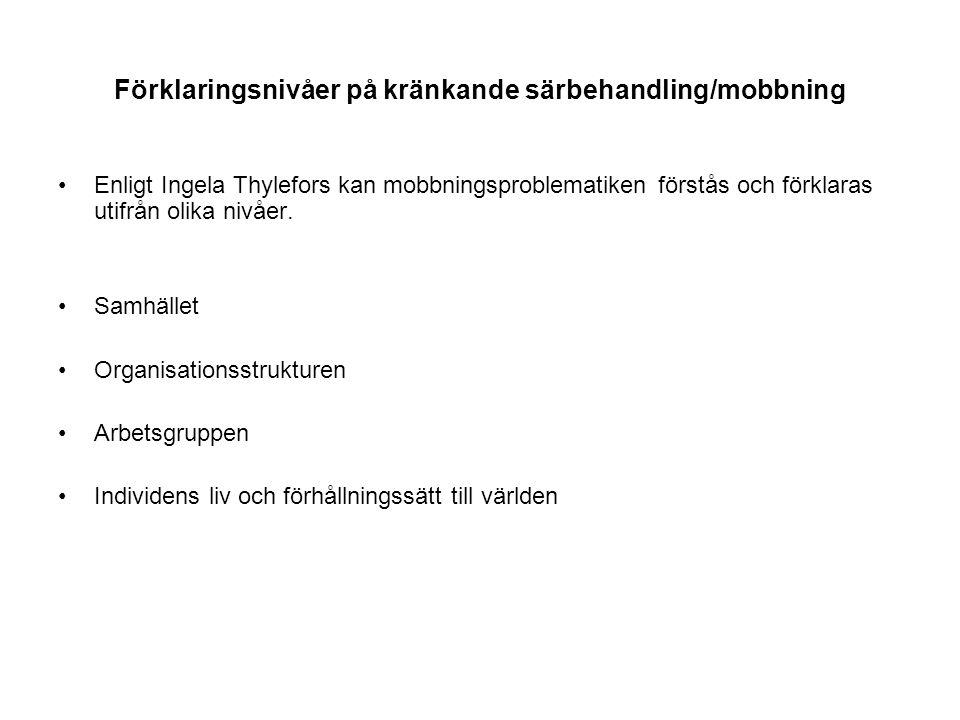 Förklaringsnivåer på kränkande särbehandling/mobbning Enligt Ingela Thylefors kan mobbningsproblematiken förstås och förklaras utifrån olika nivåer. S