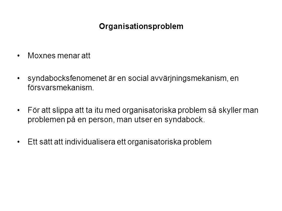 Organisationsproblem Moxnes menar att syndabocksfenomenet är en social avvärjningsmekanism, en försvarsmekanism. För att slippa att ta itu med organis
