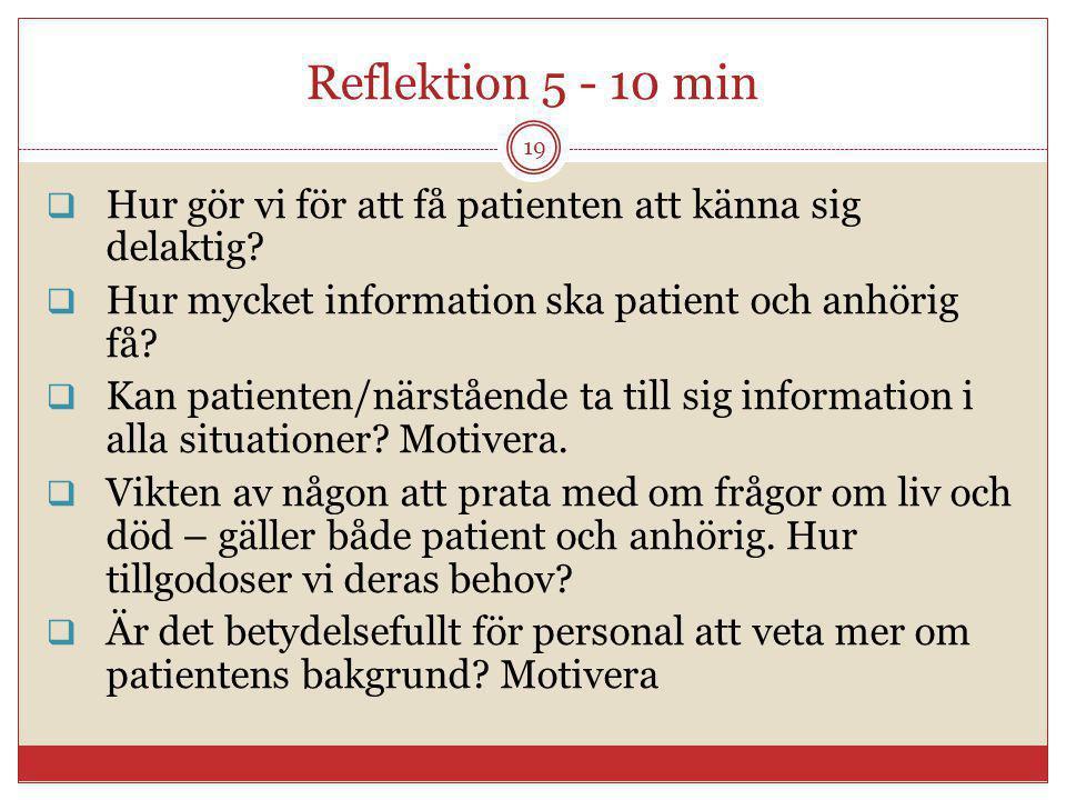 Reflektion 5 - 10 min  Hur gör vi för att få patienten att känna sig delaktig?  Hur mycket information ska patient och anhörig få?  Kan patienten/n