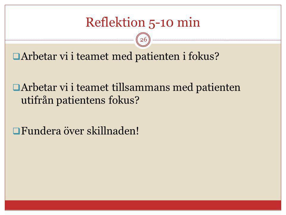 Reflektion 5-10 min  Arbetar vi i teamet med patienten i fokus?  Arbetar vi i teamet tillsammans med patienten utifrån patientens fokus?  Fundera ö