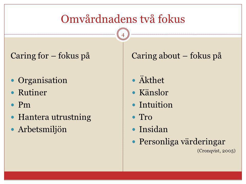 Omvårdnadens två fokus Caring for – fokus på Organisation Rutiner Pm Hantera utrustning Arbetsmiljön Caring about – fokus på Äkthet Känslor Intuition