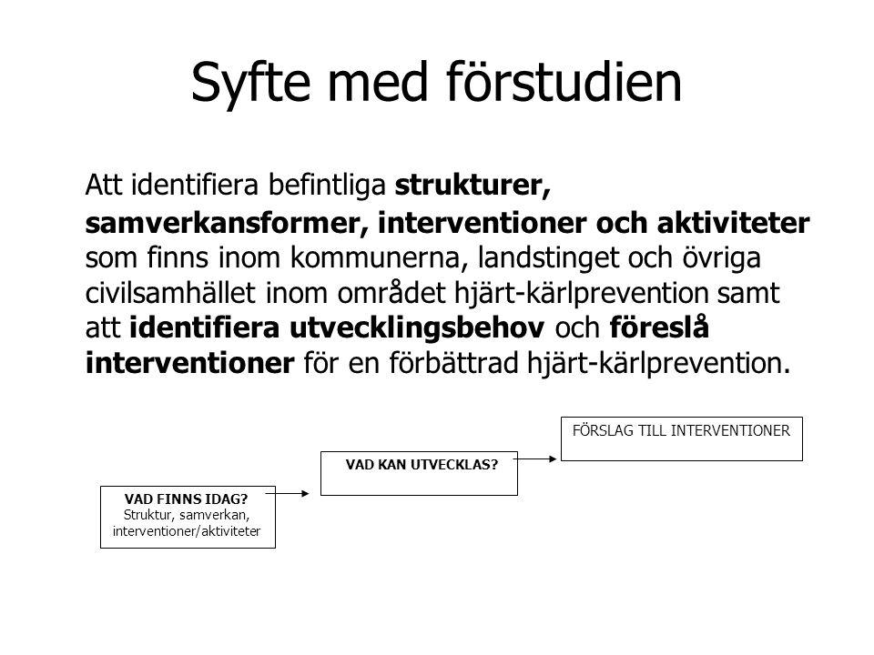 Syfte med förstudien Att identifiera befintliga strukturer, samverkansformer, interventioner och aktiviteter som finns inom kommunerna, landstinget oc