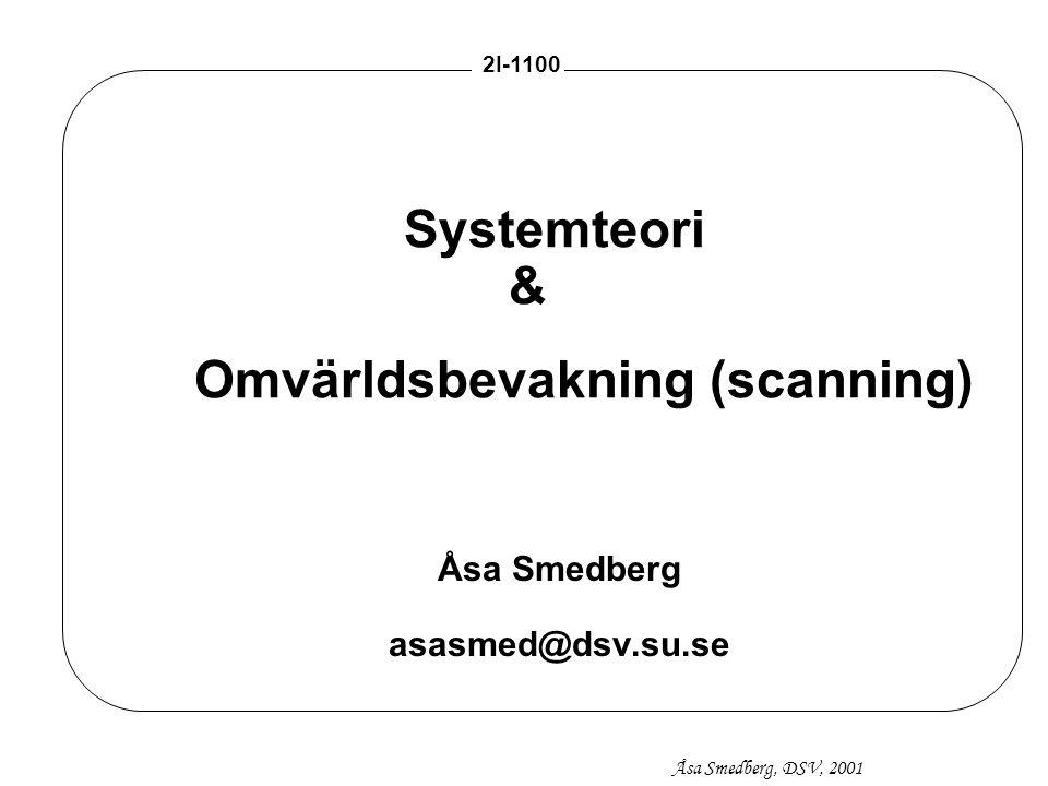 Åsa Smedberg, DSV, 2001 2I-1100 22 Omgivningens påverkan på organisationer kStabila omgivningar - mekanistiska organisationer kDynamiska omgivningar - organiska organisationer Omgivningen kan förändras från stabil till dynamisk - kräver förändring i organisationen.