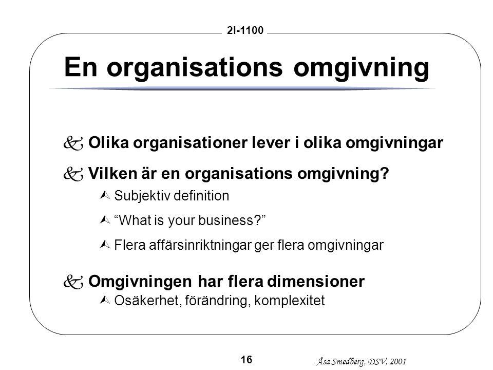 Åsa Smedberg, DSV, 2001 2I-1100 16 En organisations omgivning kOlika organisationer lever i olika omgivningar kVilken är en organisations omgivning? Ù