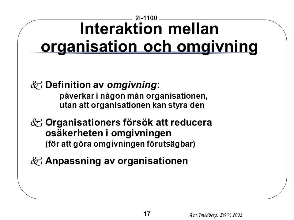 Åsa Smedberg, DSV, 2001 2I-1100 17 Interaktion mellan organisation och omgivning kDefinition av omgivning: påverkar i någon mån organisationen, utan a