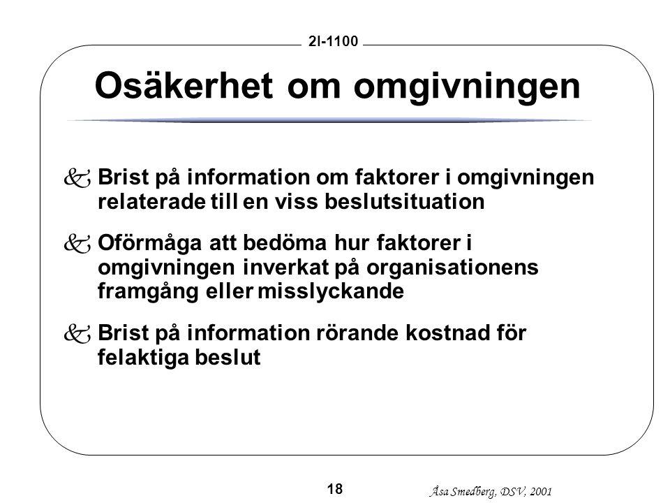 Åsa Smedberg, DSV, 2001 2I-1100 18 Osäkerhet om omgivningen kBrist på information om faktorer i omgivningen relaterade till en viss beslutsituation kO