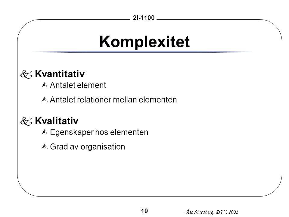 Åsa Smedberg, DSV, 2001 2I-1100 19 Komplexitet kKvantitativ ÙAntalet element ÙAntalet relationer mellan elementen kKvalitativ ÙEgenskaper hos elemente
