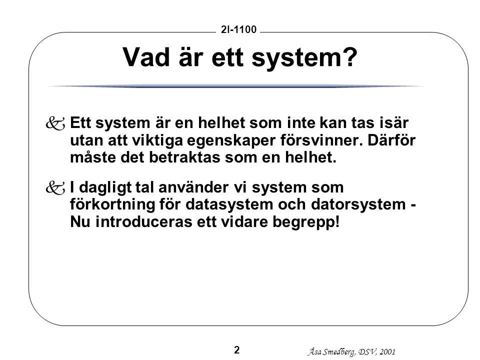 Åsa Smedberg, DSV, 2001 2I-1100 2 Vad är ett system? kEtt system är en helhet som inte kan tas isär utan att viktiga egenskaper försvinner. Därför mås
