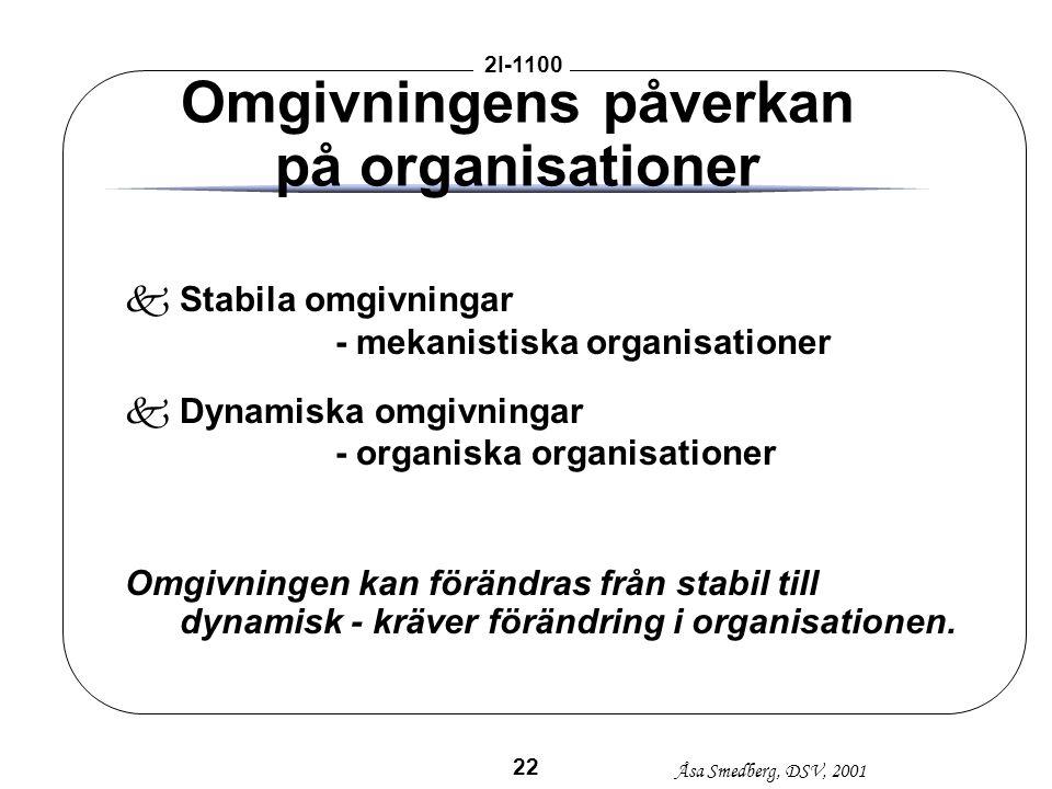 Åsa Smedberg, DSV, 2001 2I-1100 22 Omgivningens påverkan på organisationer kStabila omgivningar - mekanistiska organisationer kDynamiska omgivningar -