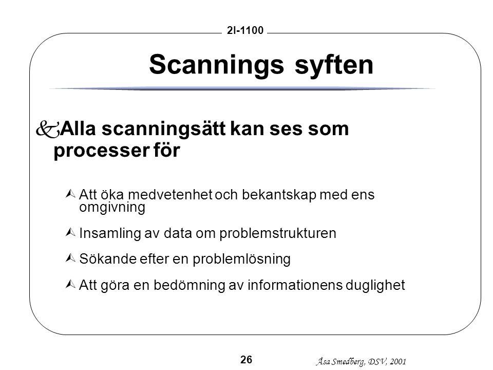 Åsa Smedberg, DSV, 2001 2I-1100 26 Scannings syften kAlla scanningsätt kan ses som processer för ÙAtt öka medvetenhet och bekantskap med ens omgivning