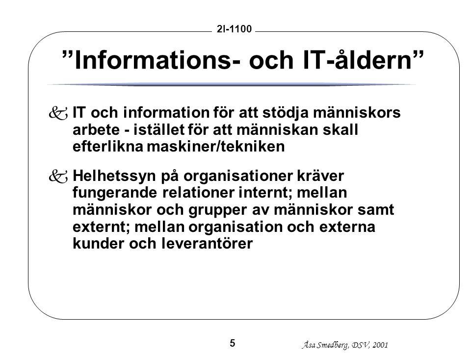 """Åsa Smedberg, DSV, 2001 2I-1100 5 """"Informations- och IT-åldern"""" kIT och information för att stödja människors arbete - istället för att människan skal"""
