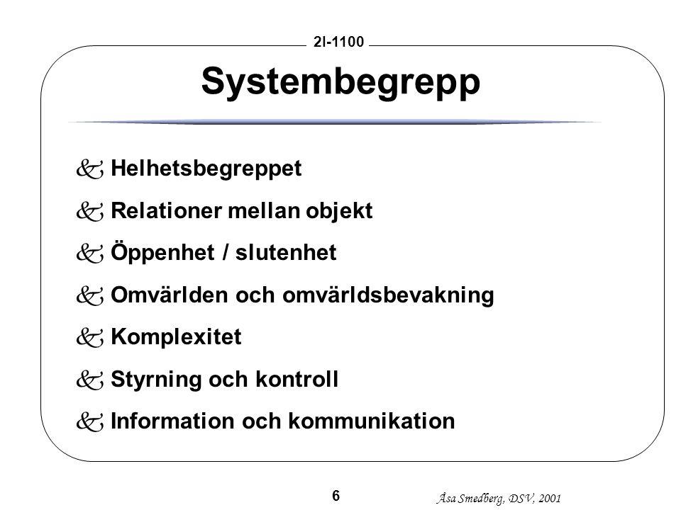 Åsa Smedberg, DSV, 2001 2I-1100 6 Systembegrepp kHelhetsbegreppet kRelationer mellan objekt kÖppenhet / slutenhet kOmvärlden och omvärldsbevakning kKo