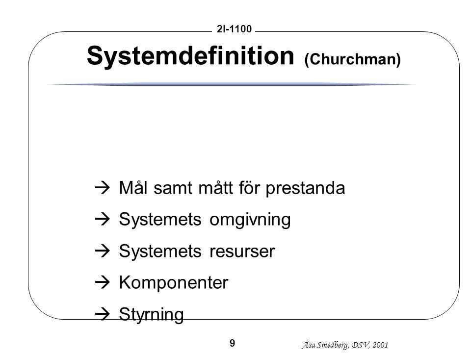 Åsa Smedberg, DSV, 2001 2I-1100 9 Systemdefinition (Churchman) àMål samt mått för prestanda àSystemets omgivning àSystemets resurser àKomponenter àSty