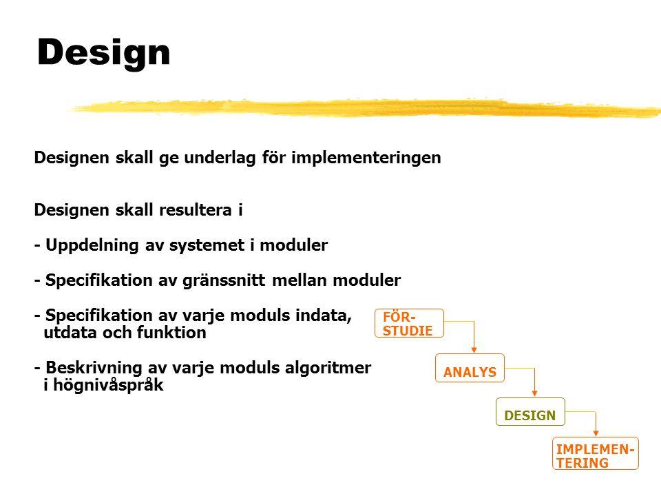 Design Designen skall ge underlag för implementeringen Designen skall resultera i - Uppdelning av systemet i moduler - Specifikation av gränssnitt mel