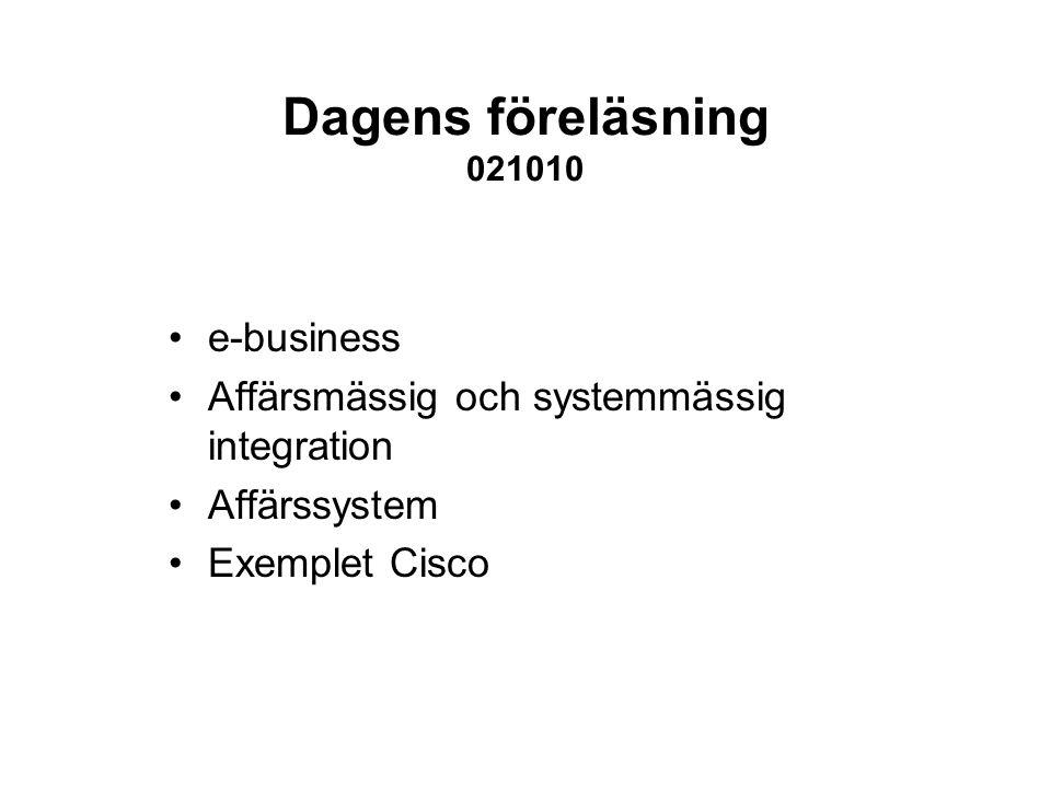 Dagens föreläsning 021010 e-business Affärsmässig och systemmässig integration Affärssystem Exemplet Cisco