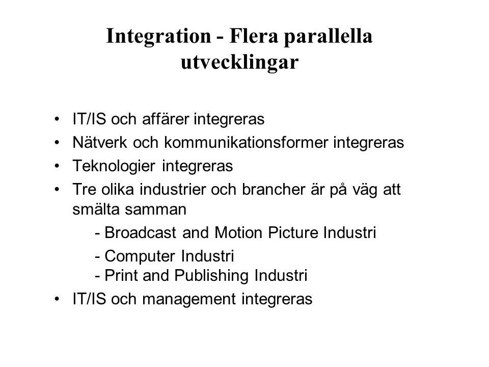 Integration - Flera parallella utvecklingar IT/IS och affärer integreras Nätverk och kommunikationsformer integreras Teknologier integreras Tre olika
