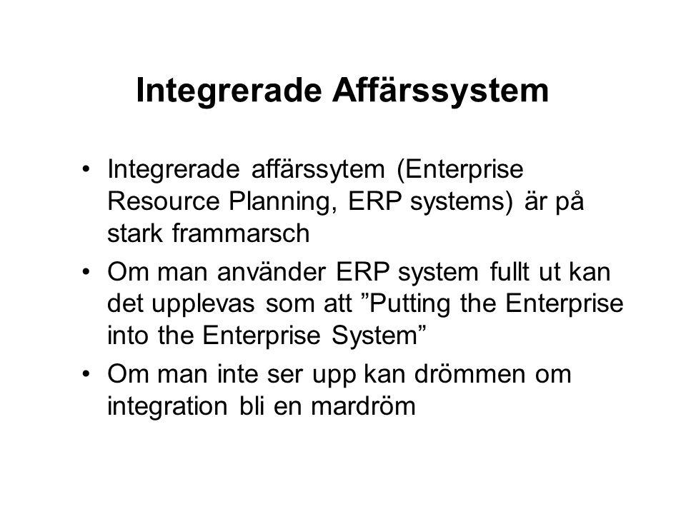 Integrerade Affärssystem Integrerade affärssytem (Enterprise Resource Planning, ERP systems) är på stark frammarsch Om man använder ERP system fullt u