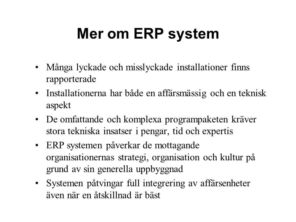 Mer om ERP system Många lyckade och misslyckade installationer finns rapporterade Installationerna har både en affärsmässig och en teknisk aspekt De o
