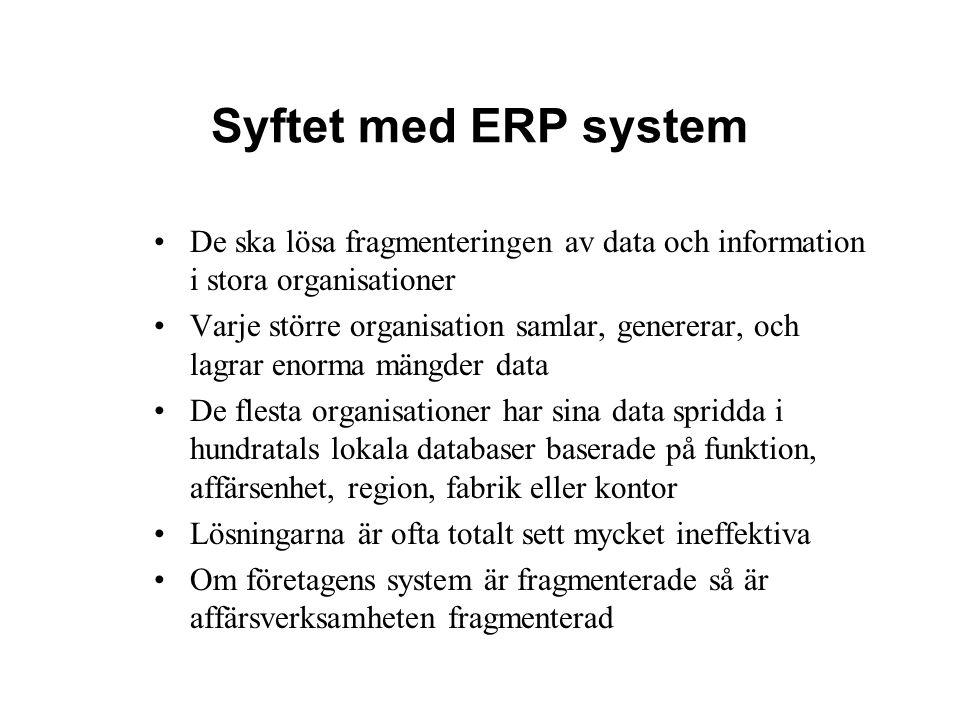 Syftet med ERP system De ska lösa fragmenteringen av data och information i stora organisationer Varje större organisation samlar, genererar, och lagr
