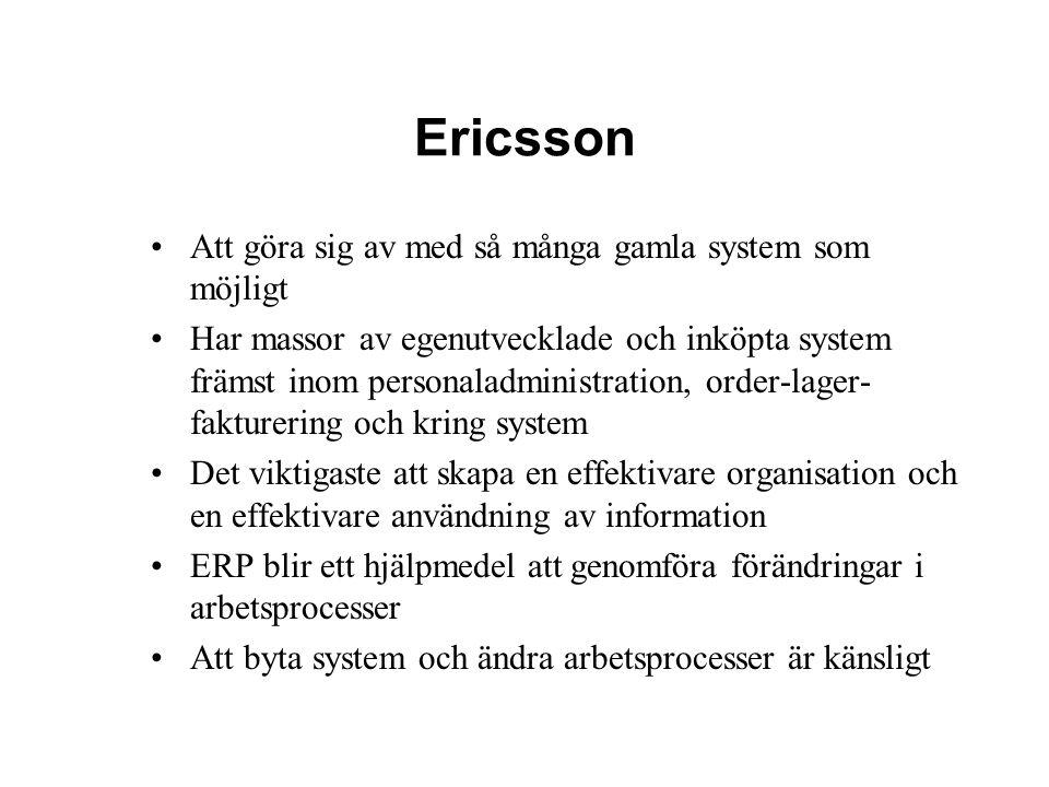 Ericsson Att göra sig av med så många gamla system som möjligt Har massor av egenutvecklade och inköpta system främst inom personaladministration, ord