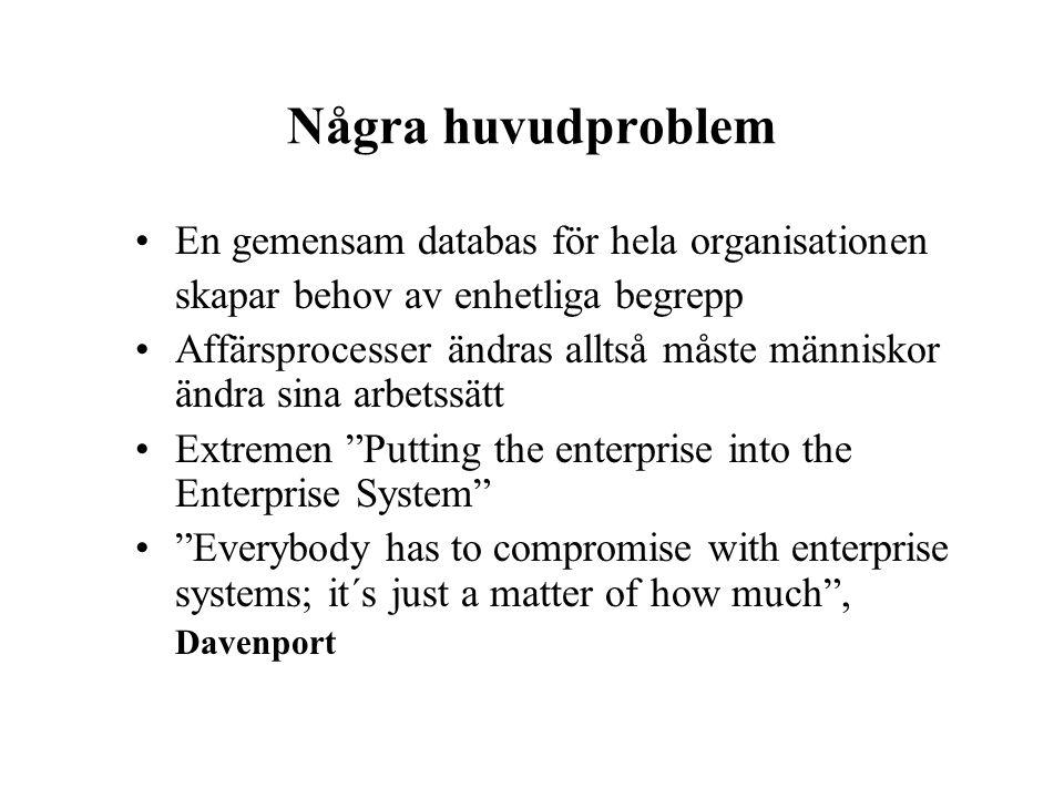 Några huvudproblem En gemensam databas för hela organisationen skapar behov av enhetliga begrepp Affärsprocesser ändras alltså måste människor ändra s