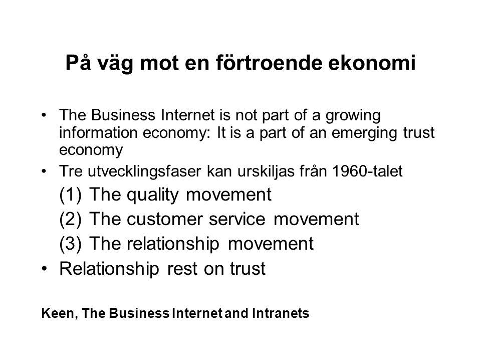 På väg mot en förtroende ekonomi The Business Internet is not part of a growing information economy: It is a part of an emerging trust economy Tre utv
