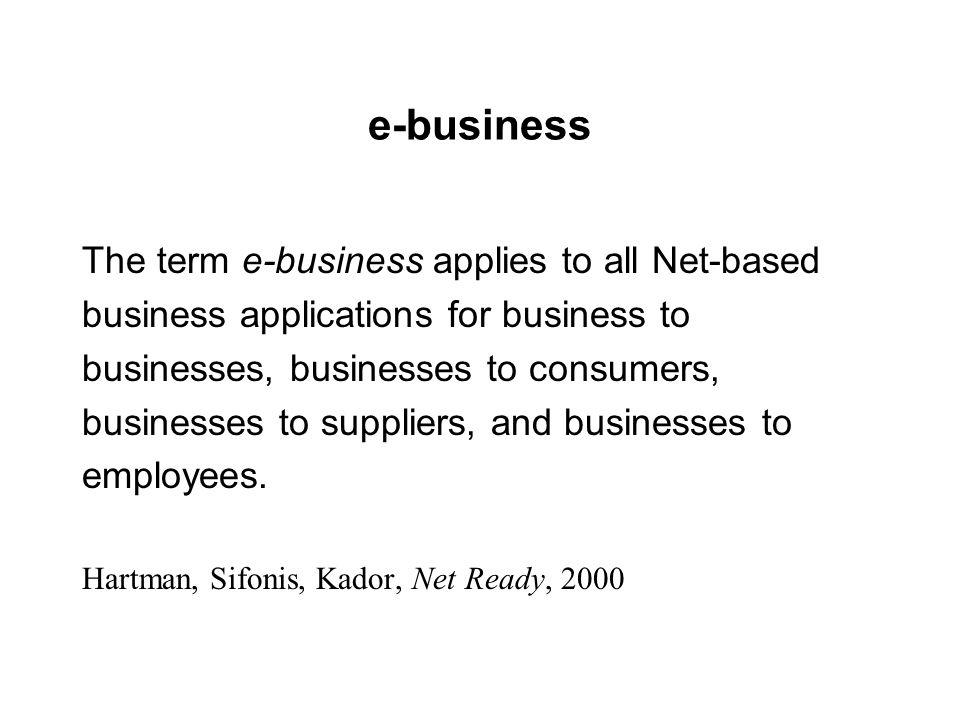 e-business The term e-business applies to all Net-based business applications for business to businesses, businesses to consumers, businesses to suppl
