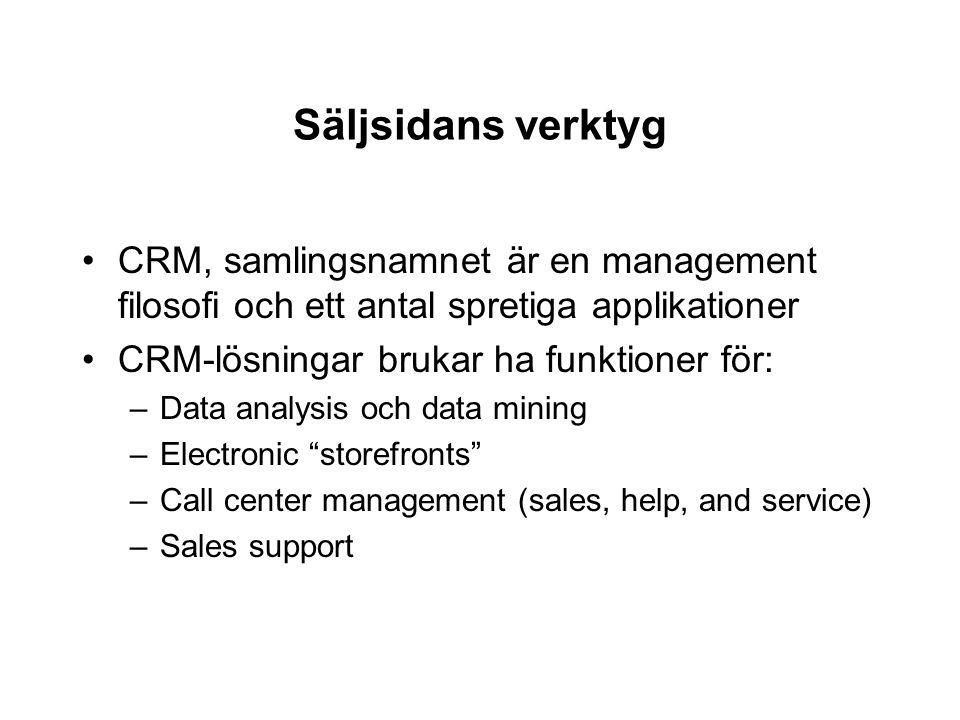 Säljsidans verktyg CRM, samlingsnamnet är en management filosofi och ett antal spretiga applikationer CRM-lösningar brukar ha funktioner för: –Data an
